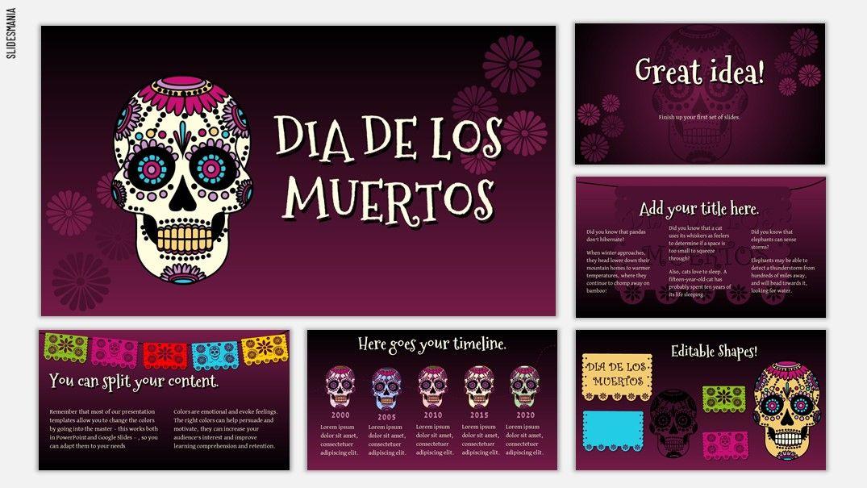 Dia de los Muertos Free template for Google Slides or