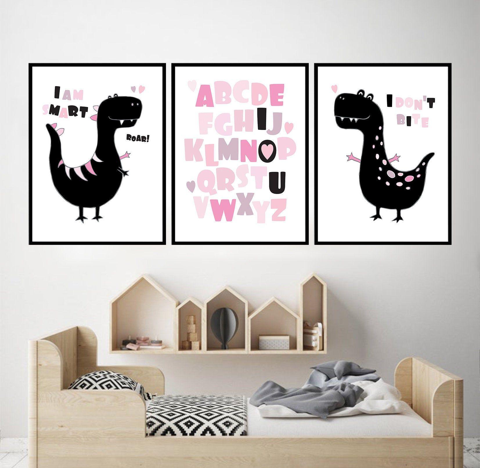 Pink Alphabet Dinosaur Girl Nursery Alphabet Pink Baby