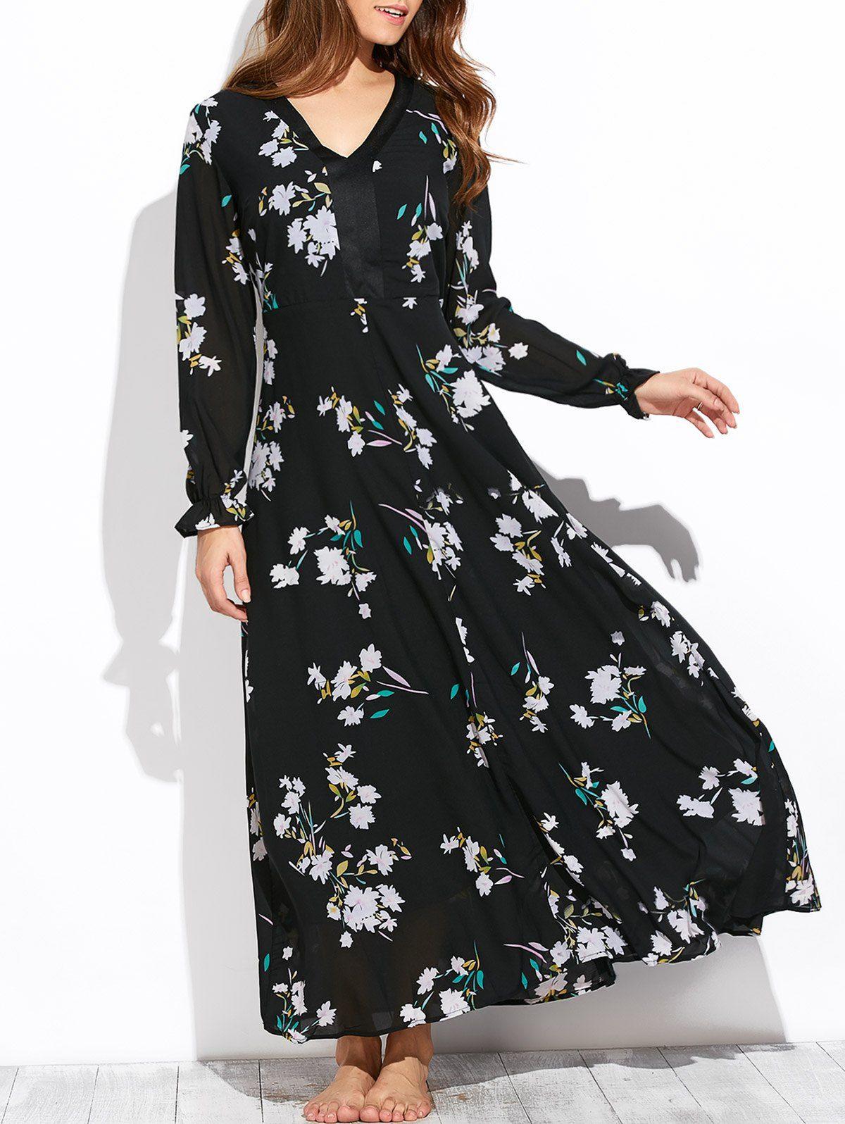 Flowy Printed Long Sleeve Maxi Dress White Maxi Dresses Online Floral Print Maxi Dress Fashion Clothes Women [ 1596 x 1200 Pixel ]