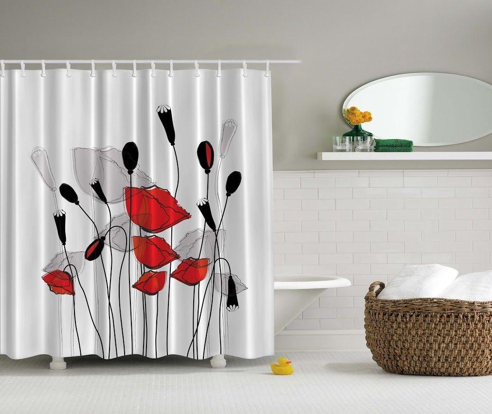 Elegant Floral Poppy Digital Print Shower Curtain Gray Red Flowers ...