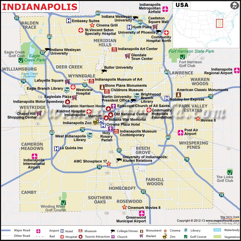 Map showing the Airports, Hotels, tourist info about Indianapolis ...