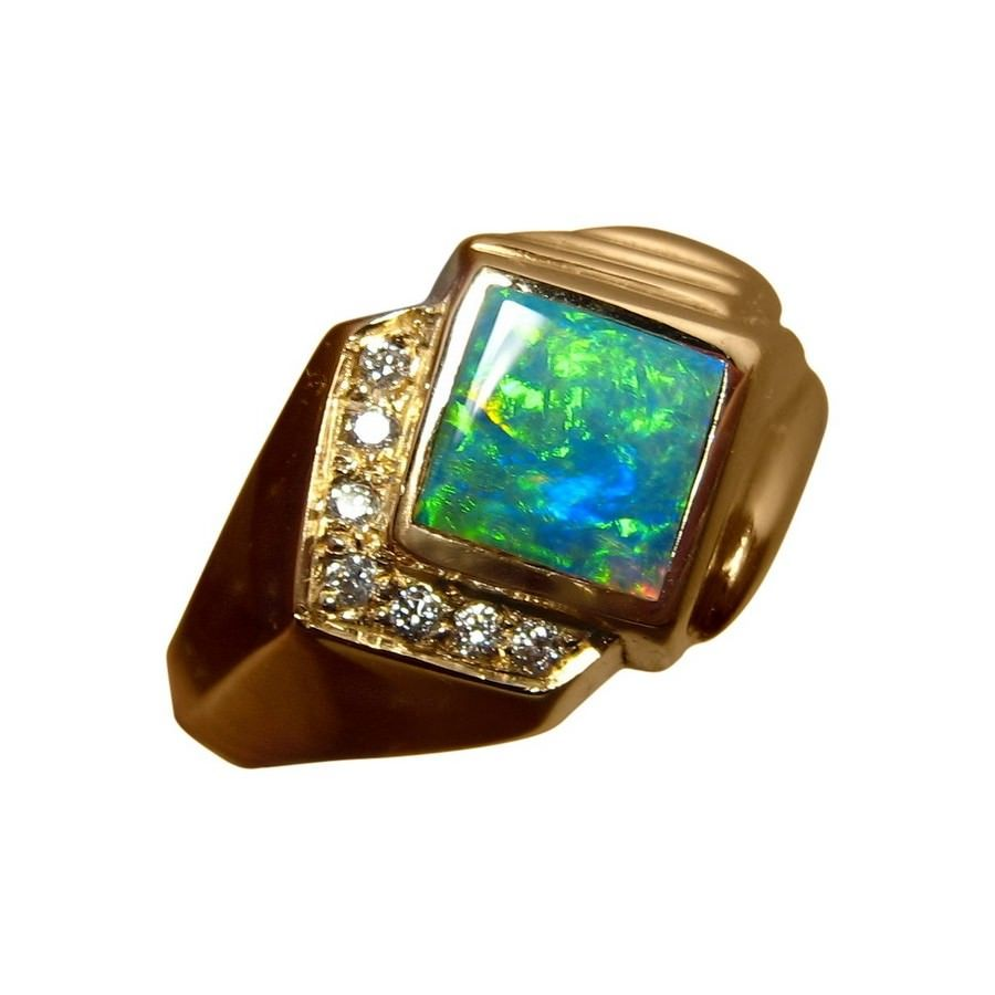 Mens Opal Diamond Ring 14k Gold Opal rings Green opal and White
