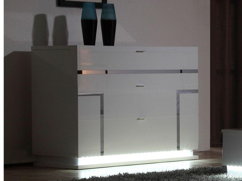 Commode Luminescence 3 Tiroirs Mdf Laque Blanc Et Leds Meuble Commode Tiroir Commode