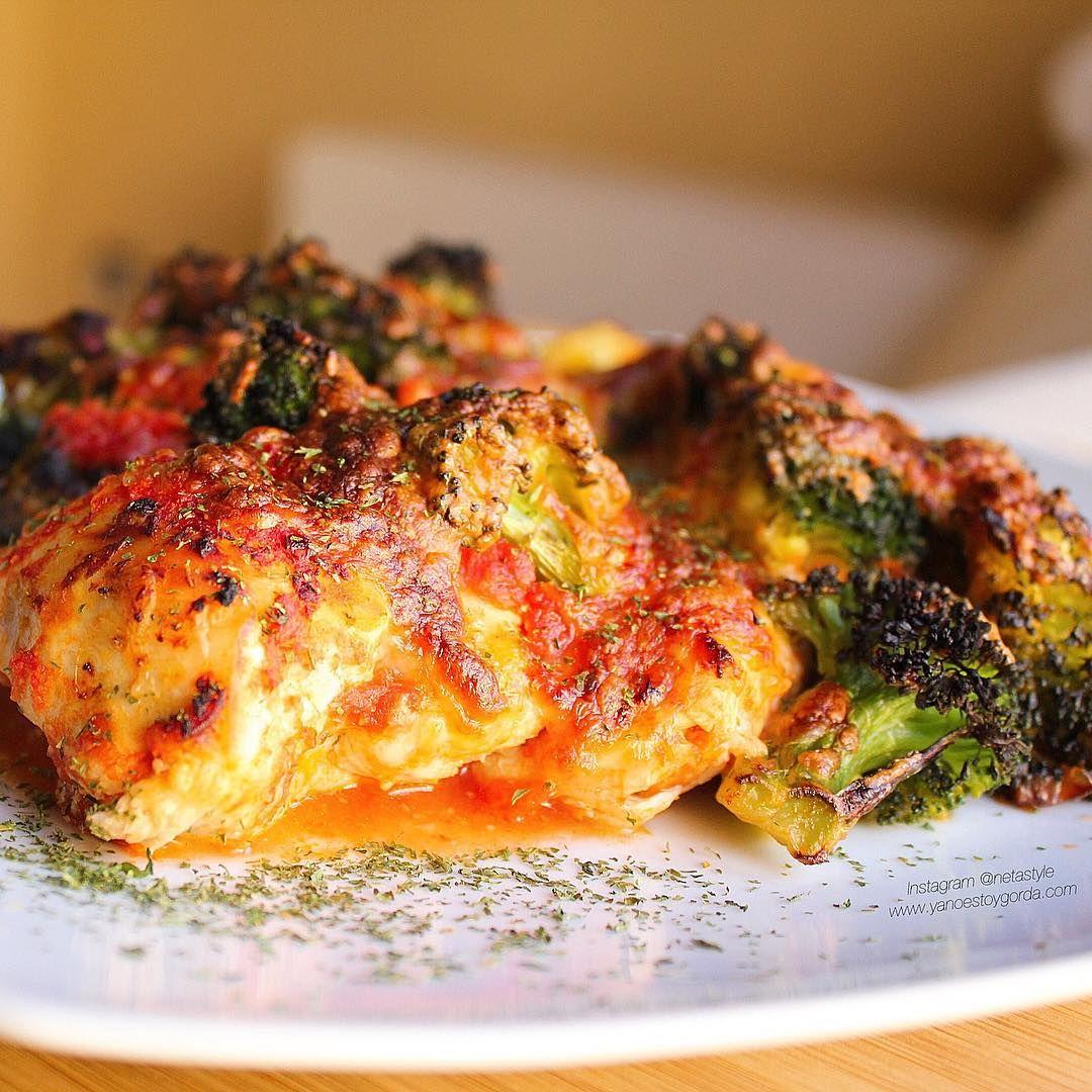 Pollo con tomate y brócoli gratinado al microondas - yanoestoygorda
