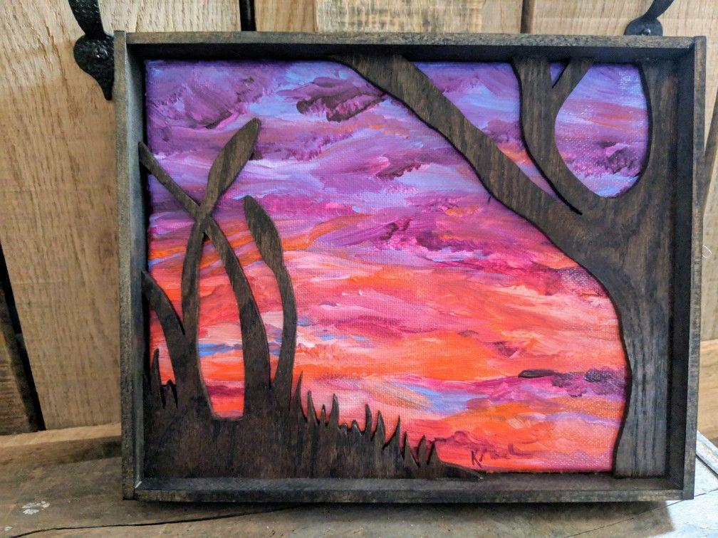 Homemade by baekn prairie sunset shadowbox wood wall art