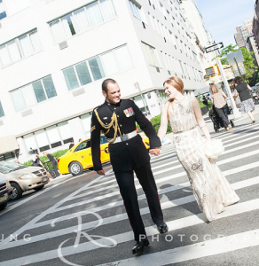 Louise and Antony on a #NYC street following their Central Park wedding