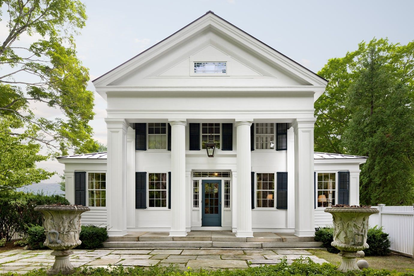 Entry Portico Of Restored Greek Revival House Colonial Federal Greek Revival Neocla Greek Revival Architecture Greek Revival Home Modern Farmhouse Exterior