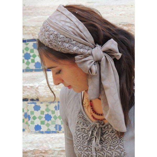 Sara Attali Lovely Flowers Headband Tichel ($51) ❤ liked on ...