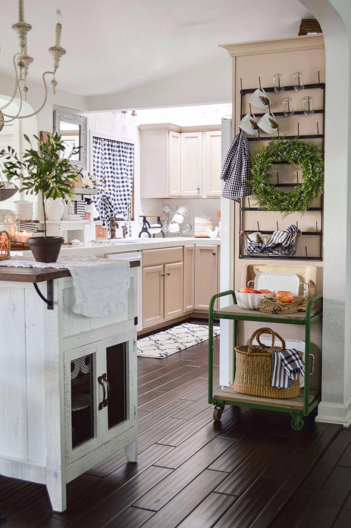Cottage farmhouse kitchen white wood barn door kitchen