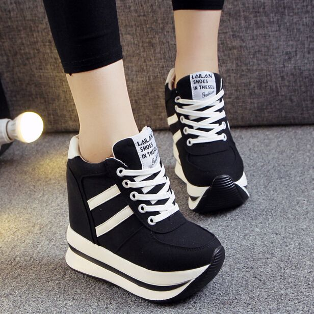 2c841f234ba1 Hot Sales New 2016 Autumn Black White Hidden Wedge Heels Casual Shoes  Women s…