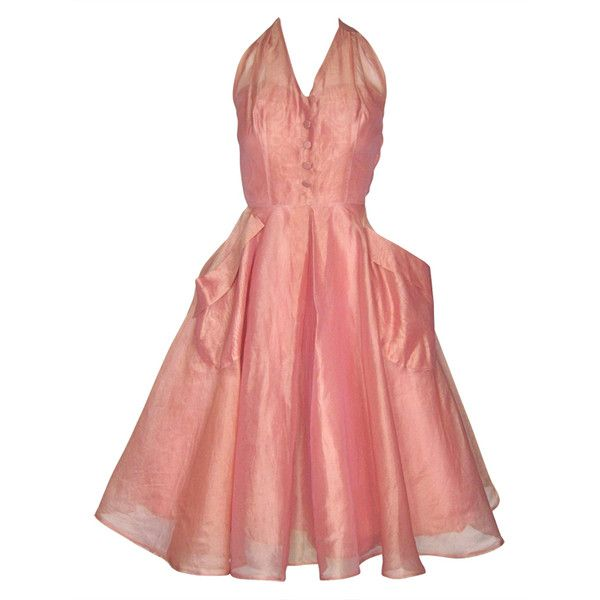 VINTAGE 1950s Rose Pink Organza Party Dress