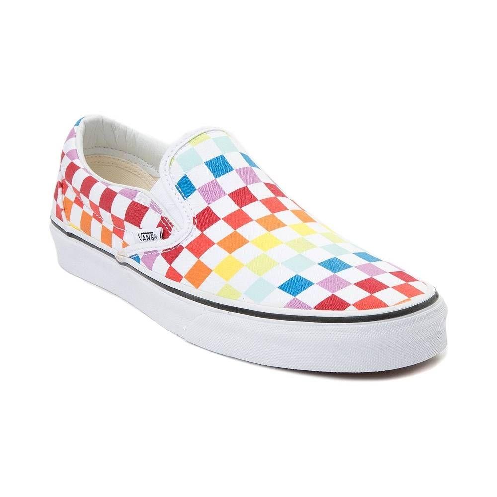 edcc0b52c46bd Vans Slip On Rainbow Chex Skate Shoe | Shoesss❤ | Vans slip on ...