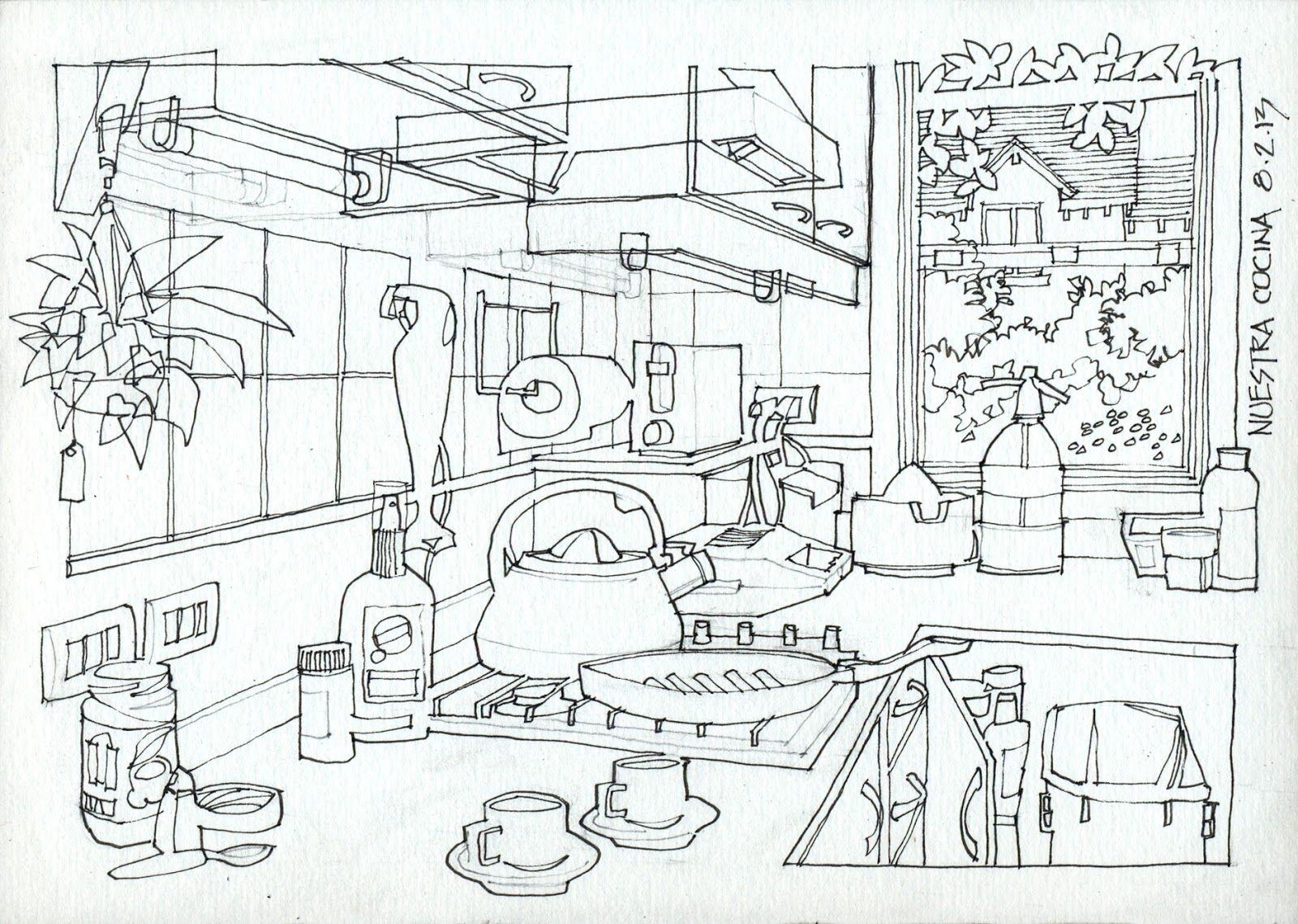 Kitchen Step By Step 17 X 24 Cm 1 I Plan The Drawing In Pencil