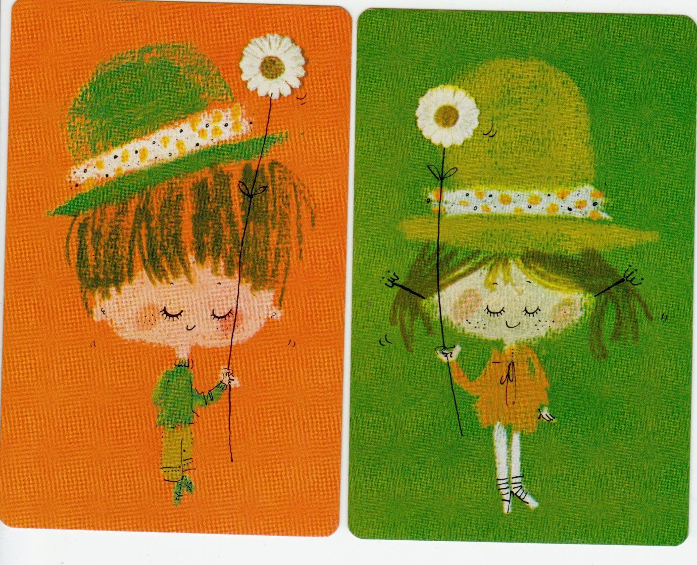 Vintage Swap Cards 1970s Cute Little 70s Retro BOY AND Girl Holding Flowers | eBay