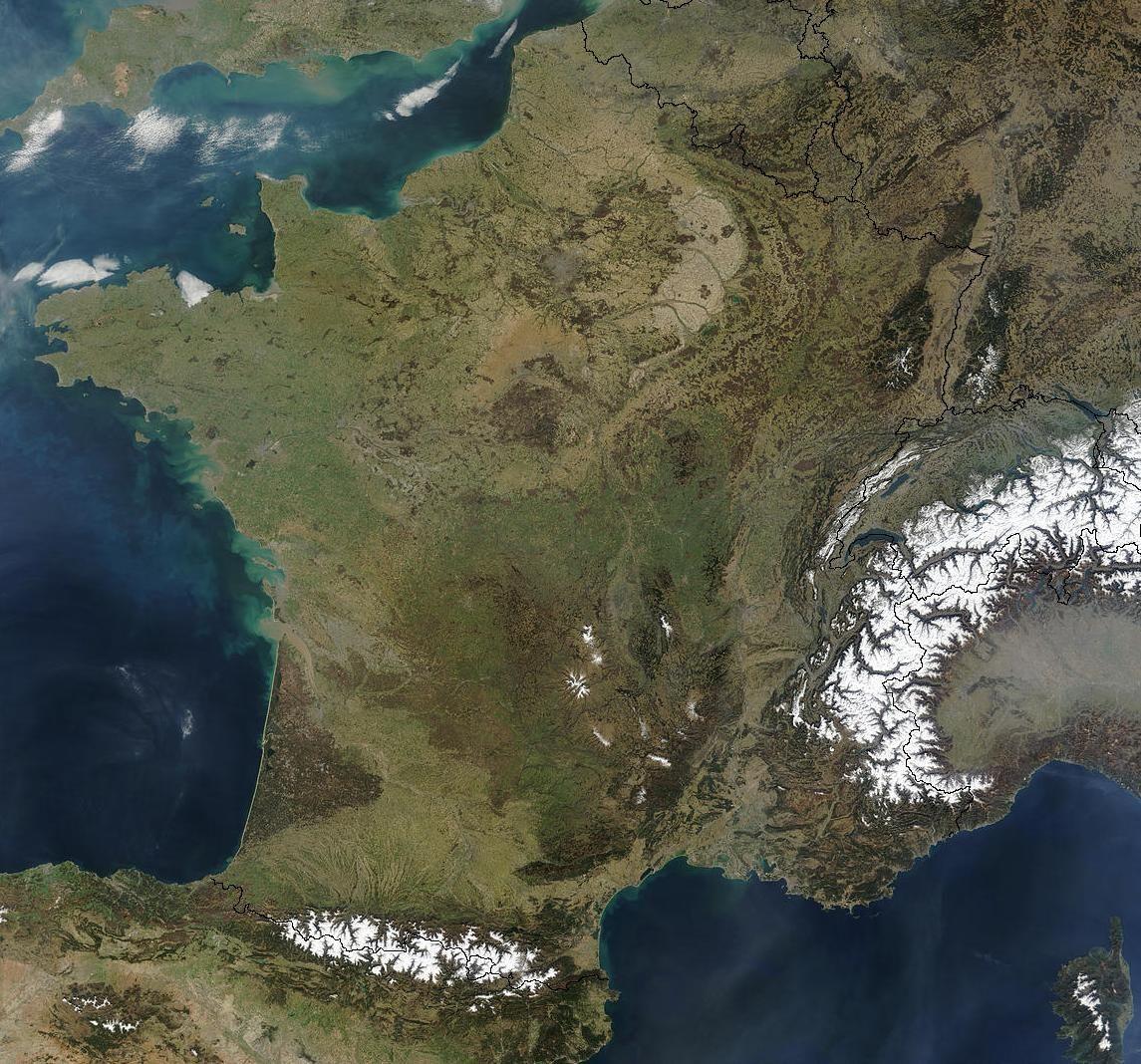 Carte de France satellite | Géographie, France, Fleuve de france