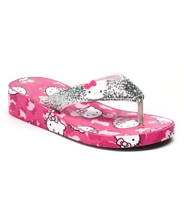 a9e5f3f6ee5 Look what I found on  zulily! Pink Camo Hello Kitty Glitter Platform ...