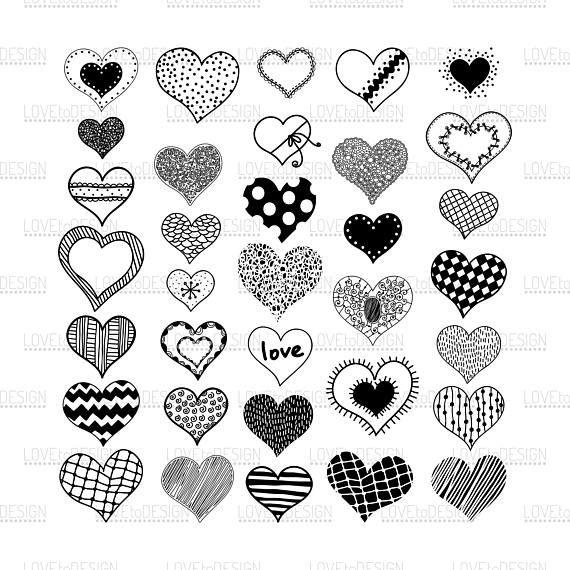 Hearts Doodles Hearts Svg Love Hearts Hand Drawn Svg
