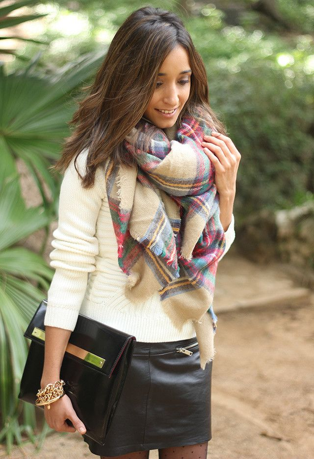 Leather skirt and checkered scarf