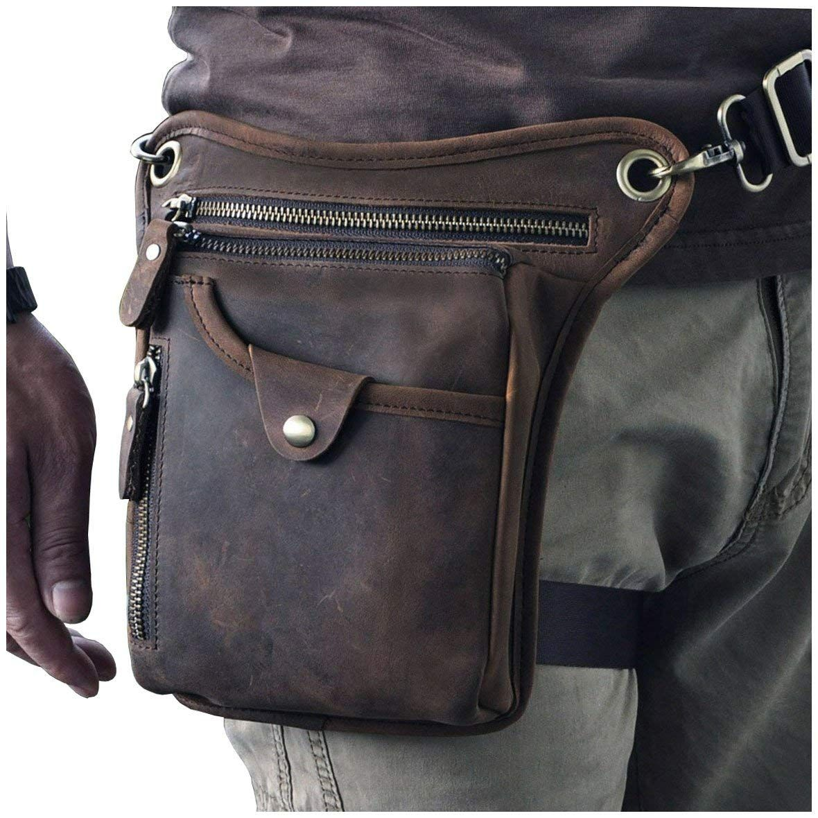 Men Belt Pouch Or Crossbody Bag Genuine Leather Holster Travel Accessories Black