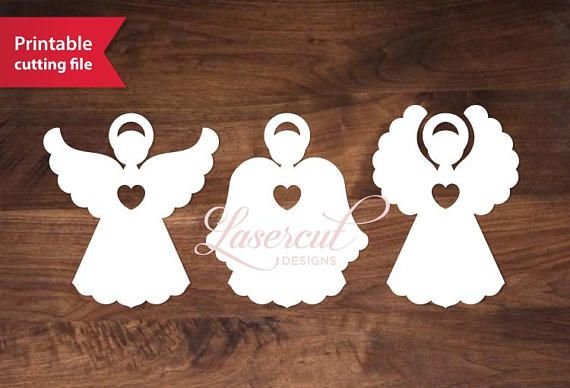 Three laser cut angels template Printable vector gift tags (Cricut