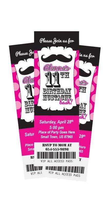 Mustache Bash Theme Ticket Style Birthday Party Invitation Any – Ticket Style Birthday Invitations
