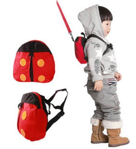 Cute Ladybug Bat Wing Baby Kid Walking Safety Harnesses Backpack Strap Bag Leash