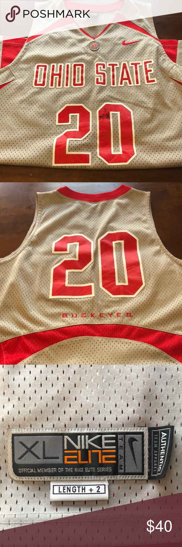 Authentic Nike Ohio State Basketball Jersey This grey jersey is signed by Greg  Oden Nike Shirts 23f3e2a20