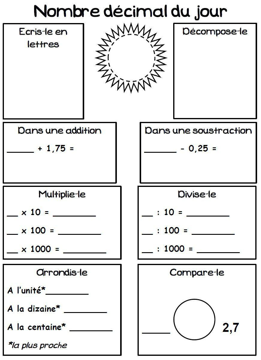 Le nombre décimal du jour (rituel) | Les nombres décimaux ...