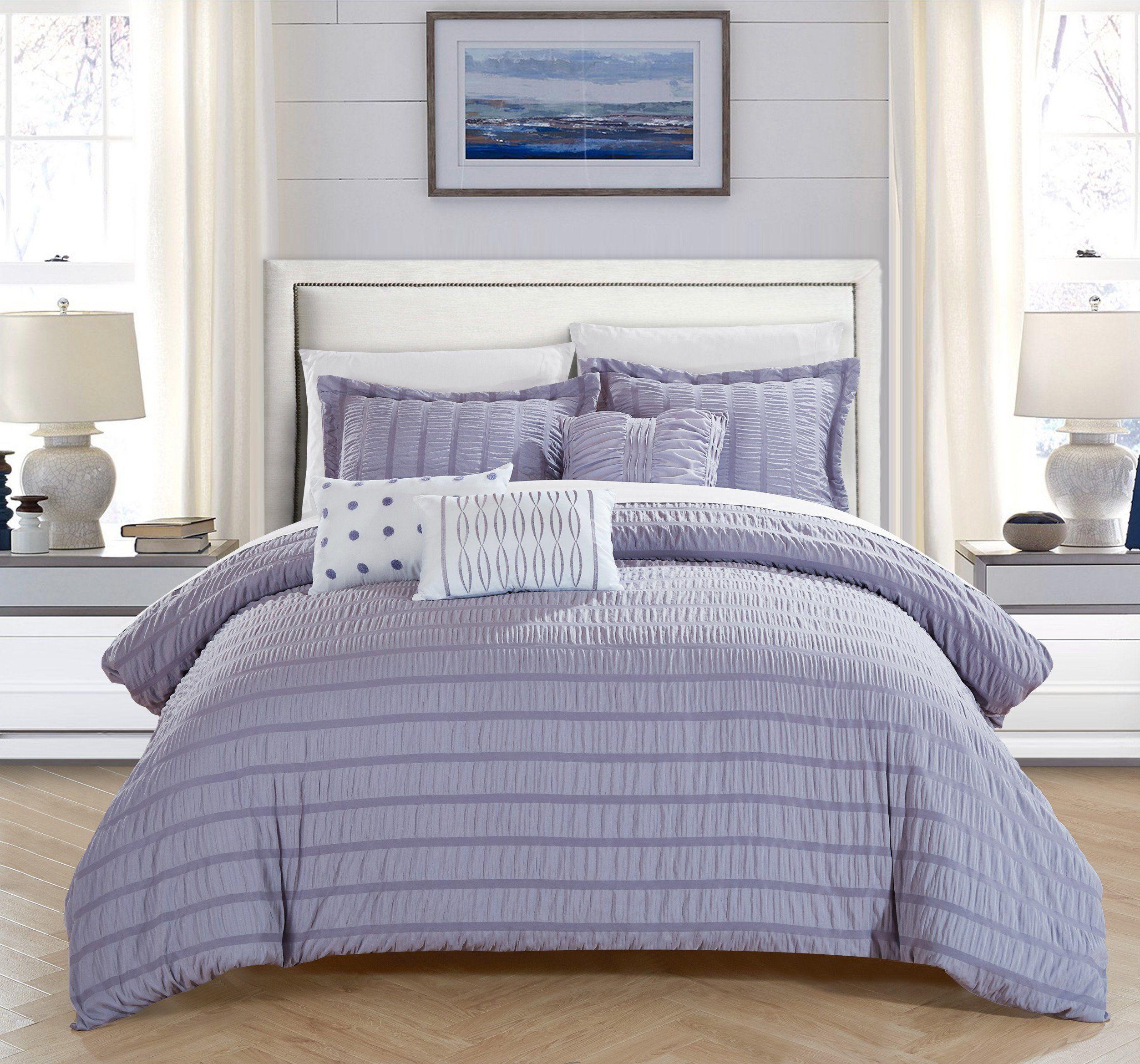 Chic Home Hadassah 10 Piece Comforter Set Striped Ruched Ruffled
