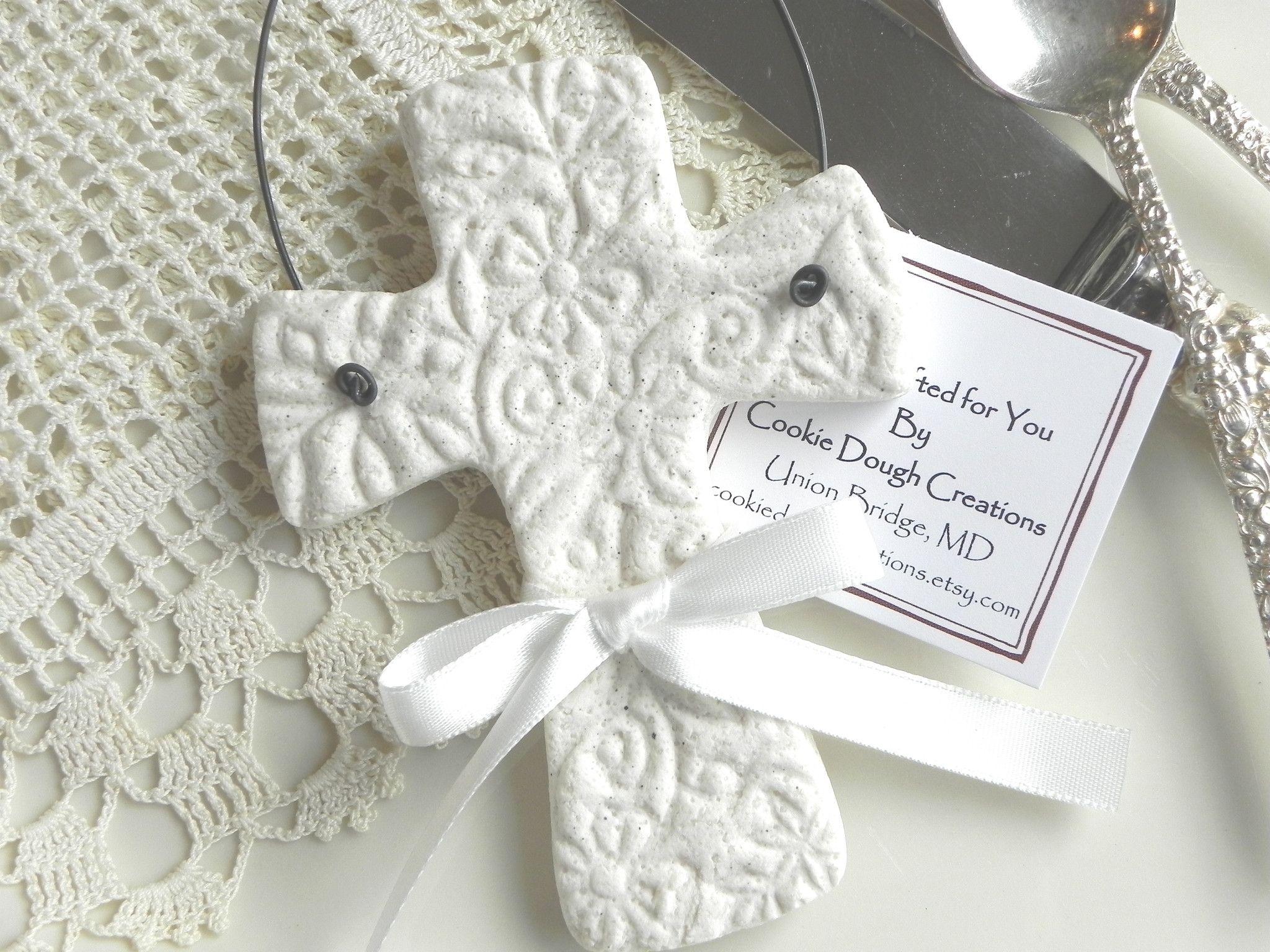 Imprinted Salt Dough Cross Ornament Wedding or Baptism Favor ...