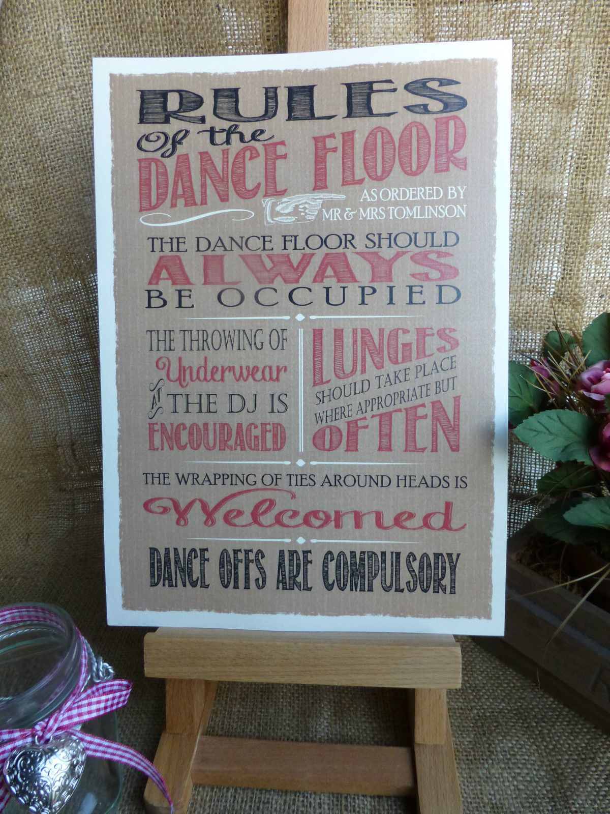 details about personalised kraft card style dance floor