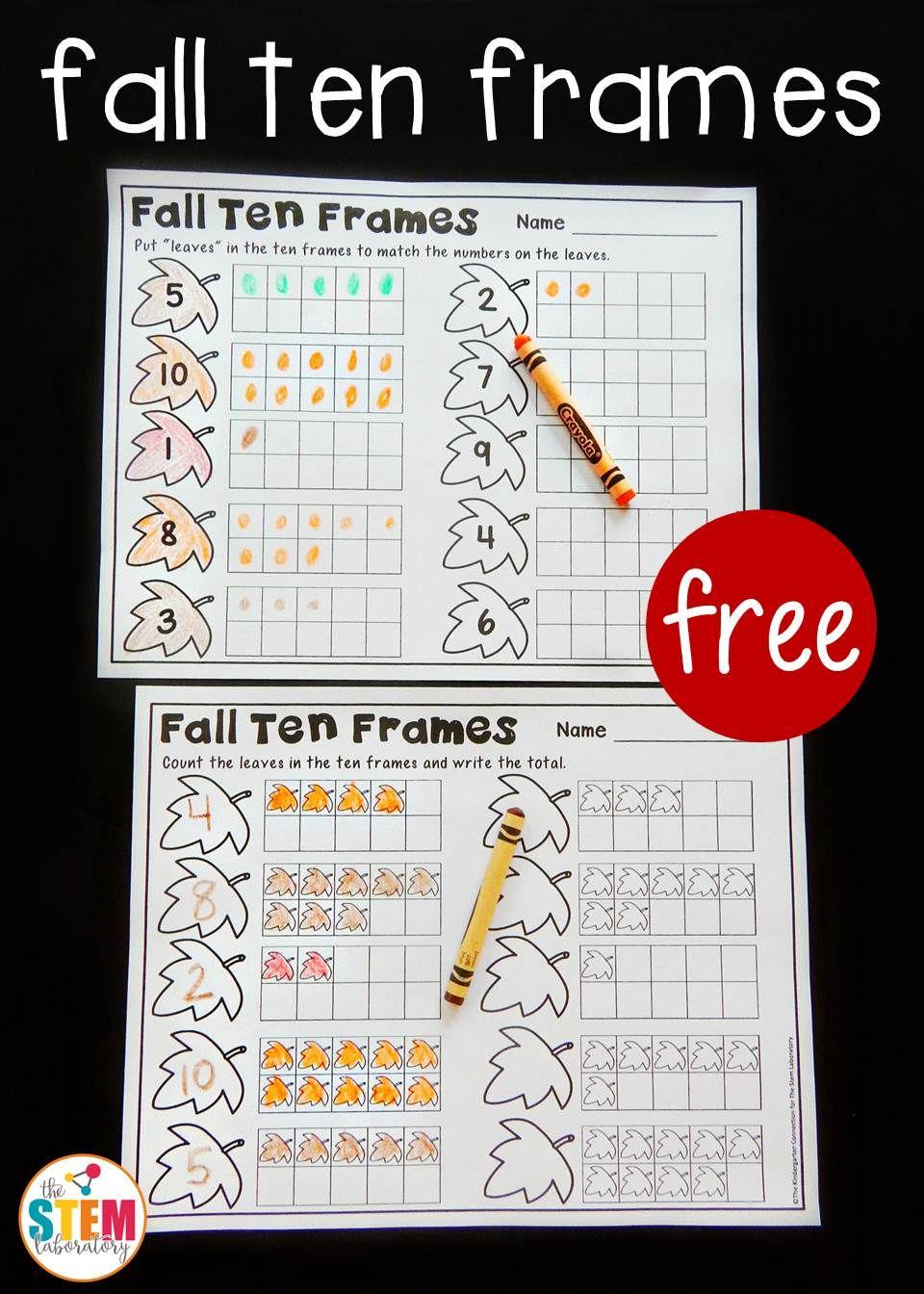 Fall Ten Frame Printables The Stem Laboratory Kindergarten Math Numbers Math Numbers Ten Frame [ 1344 x 960 Pixel ]