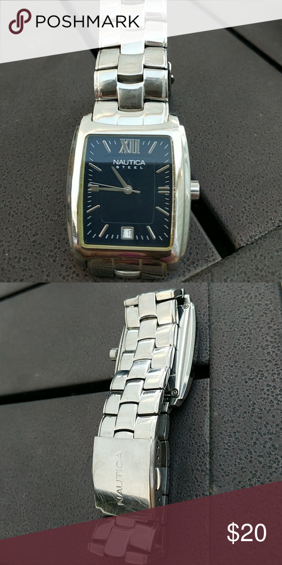 Nautica stainless watch. Stainless and water resistant. Needs battery. Good condition Nautica Accessories Watches