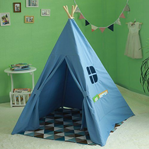 Kidu0027s Authentic Giant Canvas Indian Teepee Tripod Play Tent Kids Hut Children House (White) & Kidu0027s Authentic Giant Canvas Indian Teepee Tripod Play Tent Kids ...