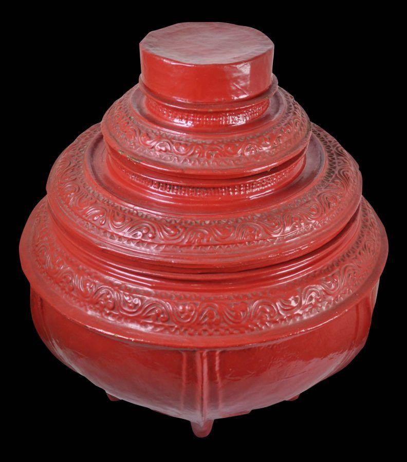 Burmese lacquered food offering vessel okkwet burmese