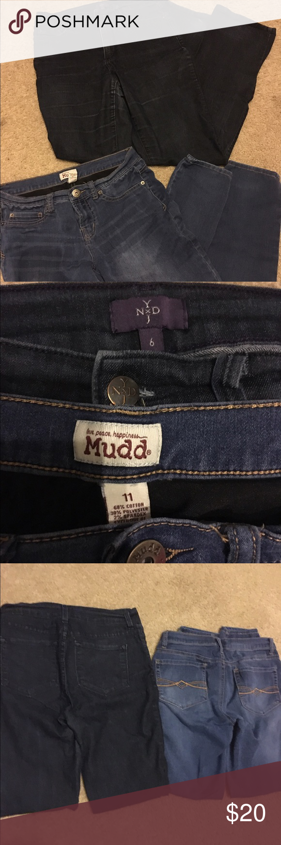 2 for 1 jeans! Darker jeans are slightly more worn than the lighter pair, but both are still in good condition and have a lot of life left in them. Please let me know if you have any questions. I usually wear between sizes 8-10. Pants Boot Cut & Flare