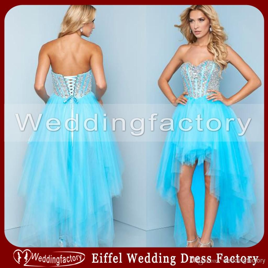 High low ice blue short homecoming dress a line sweetheart beaded