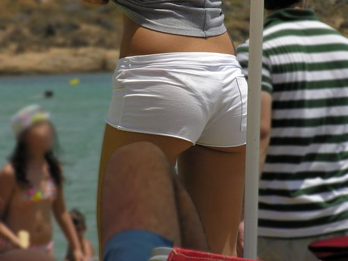 Tight White Short Shorts