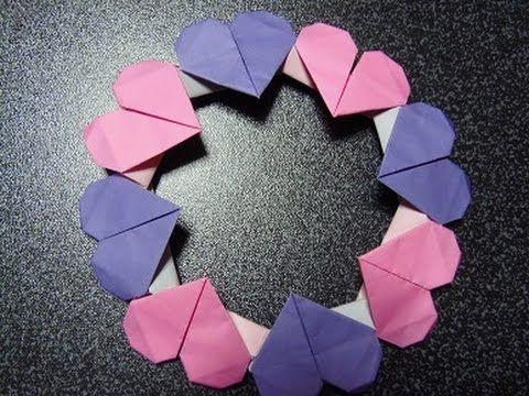 折り紙 ハートのリース 折り方 作り方 Origami Valentin Day 折り紙