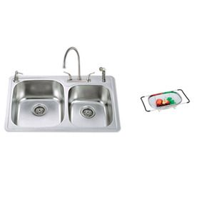 american standard double basin topmount stainless steel kitchen sink with faucet. beautiful ideas. Home Design Ideas