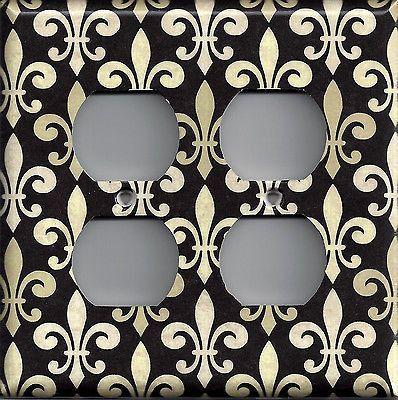Fleur de Lis/Lys New Orleans Saints Black and Gold Switch Plates & Outlet Covers