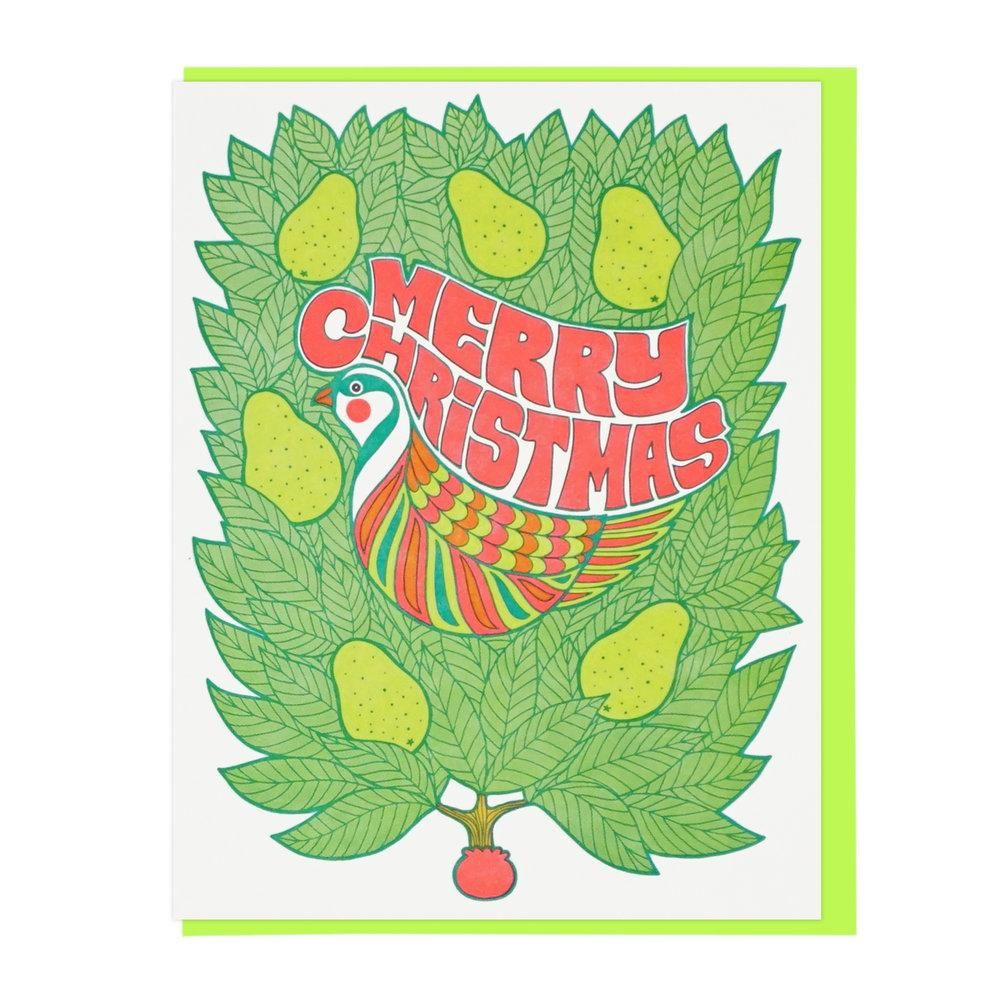 MERRY CHRISTMAS PARTRIDGE IN A PEAR TREE Letterpress Card box set of 6