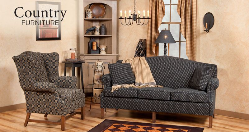 Camelback Sofa Amp Wingback Chair In Black And Tan Fabric