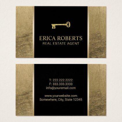 Real estate agent modern black gold business card real estate agent modern black gold business card realtor real estate agent business diy reheart Images