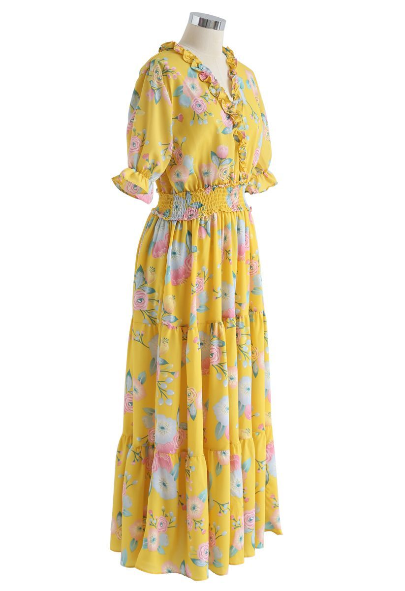 Full blooming floral ruffle wrapped dress in yellow in