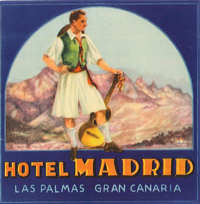 Vintage Hotel Luggage Label From The Hotel Madrid In Las Palmas Gran