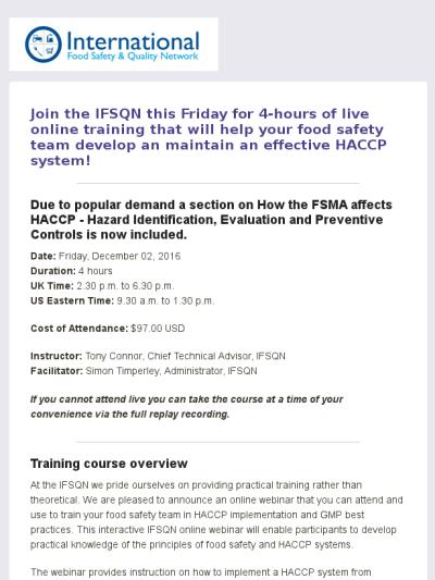 Practical Haccp Team Live Training Webinar Live Training Online Training Courses Webinar