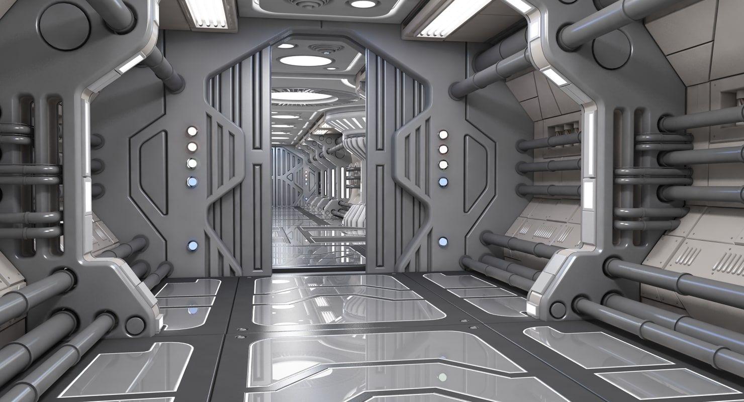 sci-fi interior scene 3d model | Space Ship | Spaceship interior