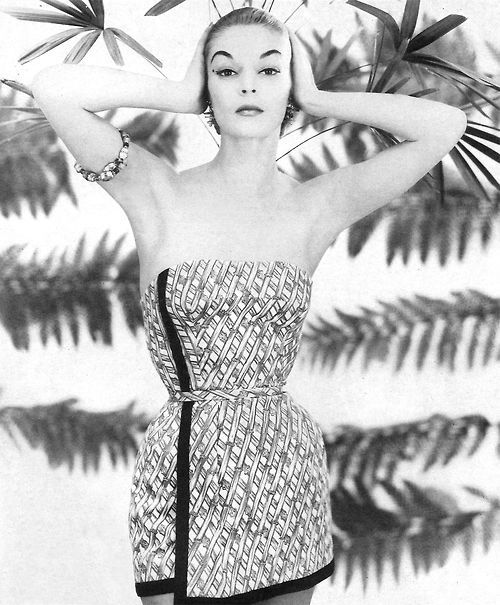 c34c64f2be65a Jean Patchett wearing swimwear by Carolyn Schnurer 1954