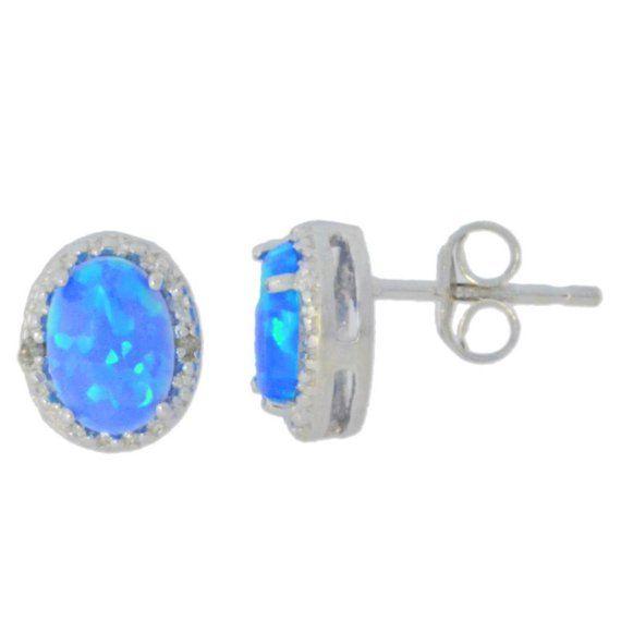 Blue Opal /& Diamond Oval Stud Earrings White Gold Silver